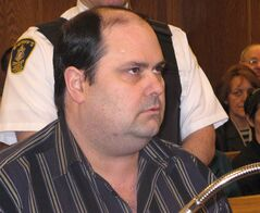 Nelson Hart is shown in court during closing arguments at his trial in Gander, Nfld., Monday, March 26, 2007. The Supreme Court of Canada ruled that Nelson Hart's confession during the sting operation cannot be used against him should he face another trial. THE CANADIAN PRESS/Tara Brautigam