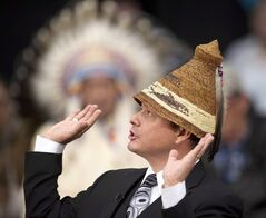 Chief Shawn Atleo speaks in Stand Off, Alta. on February 7, 2014. THE CANADIAN PRESS/Larry MacDougal