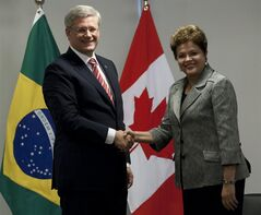 Canadian Prime Minister Stephen Harper shakes hands with Brazilian President Dilma Rousseff following a bilateral meeting at the Palacio do Planalto in Brasilia, Monday August 8, 2011. THE CANADIAN PRESS/Adrian Wyld