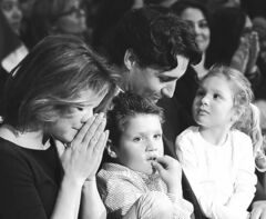 Justin Trudeau, his wife Sophie Gregoire and their children Xavier and Ella-Grace celebrate after he won the Federal Liberal leadership Sunday April 14, 2013 in Ottawa. THE CANADIAN PRESS/Fred Chartrand