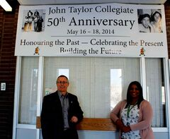 John Taylor Collegiate principal Scott Lockhart (left) and teacher Melanie Paragg have been instrumental in organizing the school's 50th anniversary reunion, scheduled to take place from May 16 to 18.