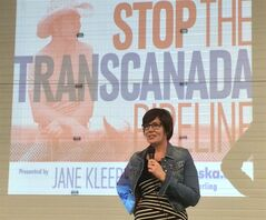 Jane Kleeb, an activist leading the anti-Keystone pipeline fight in Nebraska, speaks at a landowners' meeting in York, Nebraska, on Saturday, Feb. 18, 2014. THE CANADIAN PRESS/Alexander Panetta