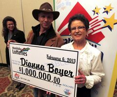 Dianna Boyer won the Set For Life lotto. Her husband Clement was with her at the announcement.