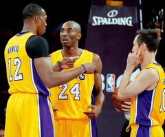 Steve Nash (right) of the Los Angeles Lakers