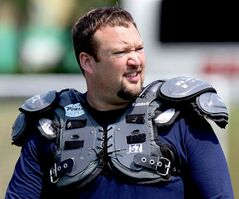 MONTREAL, QUEBEC; AUGUST 2, 2010 --  Montreal Alouettes offensive lineman Scott Flory wears his shoulder pads to practice at Concordia University in Montreal, August 2, 2010.    (John Mahoney/THE GAZETTE) closecut close cut