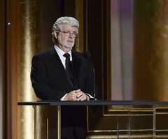 FILE - In this Nov. 16, 2013 file photo, Producer George Lucas speaks at the 2013 Governors Awards in Los Angeles. The