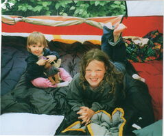 Maslen Lunney, at 18 months, and Beverley Lunney, at nine years, camping in 2003.