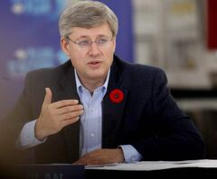 Prime Minister Harper talks to local business owners today in city.
