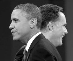 Republican presidential candidate, former Massachusetts Gov. Mitt Romney and President Barack Obama walks past each other on stage at the end of the last debate at Lynn University, Monday, Oct. 22, 2012, in Boca Raton, Fla. (AP Photo/Pablo Martinez Monsivais)