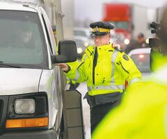RCMP officers were out on the Trans-Canada Highway in Headingley for the kickoff of the 2012 Holiday Checkstop Program.