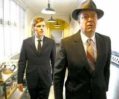Shaun Evans (left) and Roger Allam star in Endeavour, Series 1.