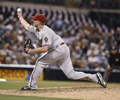 Arizona Diamondbacks relief pitcher Addison Reed closes out the Diamondabcks' 3-1 victory over the San Diego Padres in the ninth inning of a baseball game Saturday, June 28, 2014, in San Diego. (AP Photo/Lenny Ignelzi)