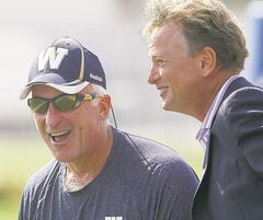 Winnipeg Blue Bombers CEO Garth Buchko (right) and GM Joe Mack.