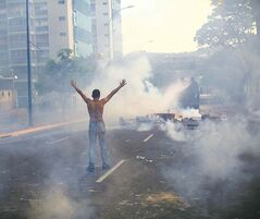 A demonstrator raises his arms toward the Bolivarian National Police (BNP) firing tear gas and a water canon in the Altamira neighborhood of Caracas, Venezuela, Wednesday, Feb. 19, 2014. The opposition is protesting the Tuesday detention of their leader Leopoldo Lopez, as well as rampant crime, shortages of consumer goods and an inflation rate of more than 50 percent.