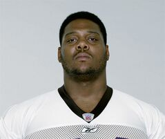 FILE - This is a 2003 file photo showing for Baltimore Ravens football player Orlando Brown. Police and fire officials say the former Ravens offensive tackle has been found dead at his Baltimore home, Friday, Sept. 23, 2011. He was 40. (AP Photo/File)