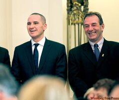 Kevin Chief (left) is now minister of Children and Youth Opportunities. Ron Kostyshyn is the new minister of Agriculture, Food and Rural Initiatives.