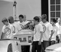 Pallbearers wear anti-bullying T-shirts at the funeral of Rebecca Sedwick in Florida on Sept. 16.