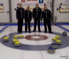 Glenn Lelyk (from left), Art Shorey, Gary Vansickle, Claude Lemay made all eight of their yellow rocks count at the Canada Post Cash Spiel earlier this month.