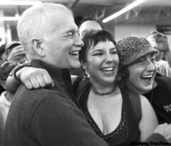 NDP Leader Jack Layton and supporters during a stop at the Indian and Metis Friendship Centre in Winnipeg on Wednesday.
