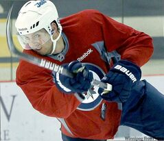 Jets right-winger Eric Fehr got in some shooting practice Friday.