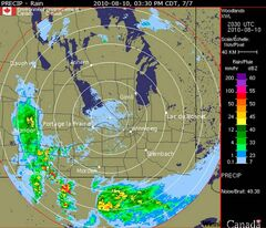 A screen grab of the latest radar sweep of Manitoba shows several weather systems moving into the province.
