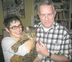 Diana Thorneycroft with Larry (the cat) and Larry Glawson (the person).