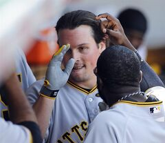 Pittsburgh Pirates right fielder Travis Snider, center, is congratulated after he homers in the third inning of a baseball game against the Chicago Cubs, Sunday, June 22, 2014, in Chicago. (AP Photo/Matt Marton)
