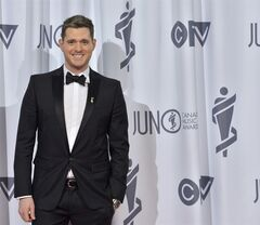 Michael Bubl� poses after hosting the 2013 Juno Gala in Regina on April 21, 2013. THE CANADIAN PRESS/Liam Richards