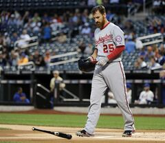 Washington Nationals' Adam LaRoche reacts after striking out to end the first inning of a baseball game against the New York Mets Tuesday, Aug.12, 2014, at Citi Field in New York. (AP Photo/Bill Kostroun)