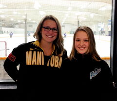 Sarah (left) and Alana Lesperance are a pair of ringette-loving sisters. Sarah plays for the Prairie Fire, while Alana is a member of the AA Bonivital Fusion.