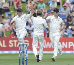 New Zealand's Neil Wagner, center, celebrates with BJ Watling, left and James Neesham after he dismissed India's Virat Kohli for 38 on the second day of the second cricket test in Wellington, New Zealand, Saturday, Feb. 15, 2014. (AP Photo/SNPA, Ross Setford) NEW ZEALAND OUT