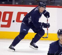 Jets new winger Antti Miettinen skating at practice.