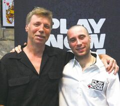 Dylan Ellis (right), pictured with father, Daryl, made his debut at the World Series of Poker on Friday.
