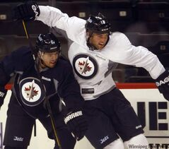 Jets captain Andrew Ladd (right)  gets tangled up with Ron Hainsey during practice.