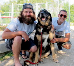 Chris Mitton, left, Boomer, and Quinn Nitychoruk are organizing Getting Furry for Furry Friends. Mitton will be sacrificing his face to grow out his beard with a goal to raise $10,000 in one year for the Winnipeg Humane Society. On Saturday, July 27 from 10 a.m. to 4 p.m. Mitton, Nitychoruk, and some furry visitors from the Human Society will be at Princess Auto, 515 Panet Rd.  for a barbeque, music, face painting, and balloon animals in hopes of raising money. T-shirts will also be for sale one for $25 or two for $35, all proceeds going to the Humane Society.