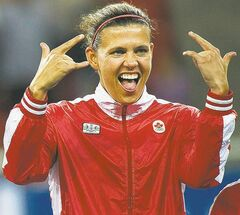FULL CLOSE CUT CLOSECUT - Canada's Christine Sinclair  reacts after winning the gold medal in women's soccer at the 2011 Pan American Games in Guadalajara, Mexico on Thursday, Oct. 27, 2011. Sinclair has been named Canada's top female soccer player for a seventh straight year.THE CANADIAN PRESS/Nathan Denette