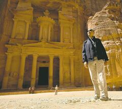 U.S. President Barack Obama stops to look at the Treasury during his tour of the ancient city of Petra in Jordan, Saturday.