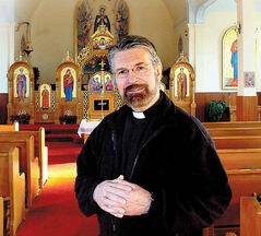 Father Edward Danylo Evanko puts his stage experience to good use for the church.