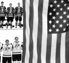 Canada and Team U.S. players look on with slightly different expressions as the American flag is raised following the gold medal game.