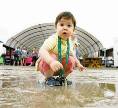 Twenty-month-old William Paschak inquisitively examines a murky puddle while attending St Norbert's Farmers Market with his dad Saturday.