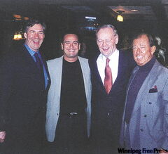 Gary Doer (L-R), Peter Ginakes, Jean Chretien, Jimmy Ginakes at Pony Coral.