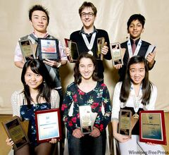 Science fair winners: (back row, from left) Siyuan (Sam) Cheng, Cody Shaw and Abhishek Chakraborty and (front row, from left) Daisy Liu, Ella Thomson and Amanda Wong.