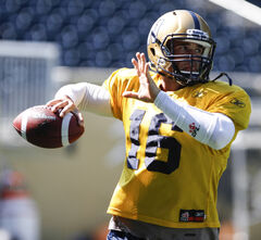 Quarterback Jason Boltus, a former Hamilton Tiger-Cat, practises with the Blue Bombers at Investors Group Field Wednesday.