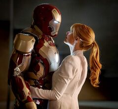 Robert Downey Jr. and Gwyeth Paltrow in Iron Man 3.