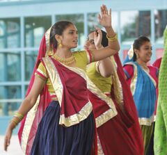 Indian dancers perform under The Forks canopy as part of Multicultural Day on Saturday.