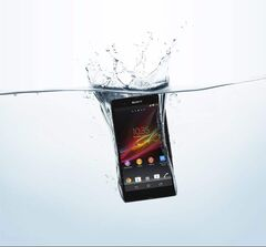 Sony's Xperia Z is water-resistant, meaning it can be submerged  up to 30 minutes, one metre deep.