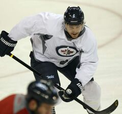 Free agent Ron Hainsey during practice Monday morning at the MTS Centre in Winnipeg.