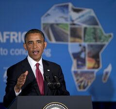 FILE - This July 1, 2013, file photo shows President Barack Obama speaking at a business forum aimed at increasing investment in Africa, in Dar Es Salaam, Tanzania. President Barack Obama is gathering nearly 50 African heads of state in Washington for an unprecedented summit aimed in part at building his legacy on a continent where his commitment has been questioned. (AP Photo/Evan Vucci, File)