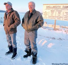 Farmers Gene Nerbas (left) and Rick Keay have been pushing the province to provide more compensation for Assiniboine River property owners located in the vicinity of the Shellmouth Dam.  ABOVE: Stan Cochrane, who farms along the Assiniboine north of  Griswold, says he knows there�s  going to be a lot of water on his land this year.