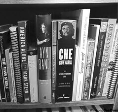 An eclectic reader, Ternette stacks Ayn Rand beside a biography of Che Guevara.